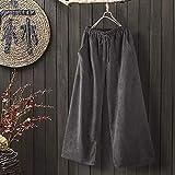 YSDSBM Pantalones de Pana sólidos de Primavera Pantalones de harén Sueltos de Cintura elástica Vintage Pantalones de Pierna Ancha con cordón para Mujer
