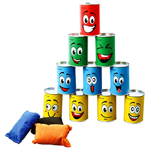 Ulifeme Tin Can Alley Game, Outdoor Garden Target Shooting Fairground Games for Kids & Children, Garden Party Toys Gift for Boys & Girls - 10pcs Fun Smile Knock Down Tin Cans and 3pcs Beanbags Packed