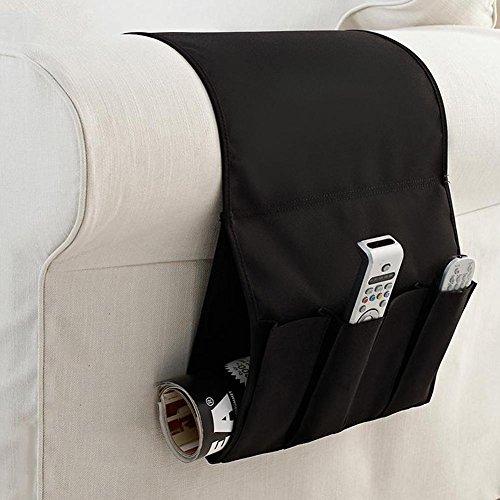 porta telecomandi da divano UEB Portaoggetti per Divano Organizzatore Pieghevole Portatile per Divano Salvaspazio Divano Multitasche (Nero)