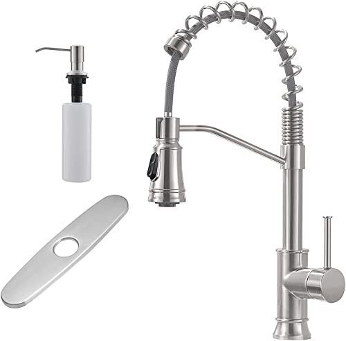 high quality GIMILI Spring Kitchen Faucet 2021 with Deck discount Plate & Soap Dispenser,Brushed Nickel outlet sale