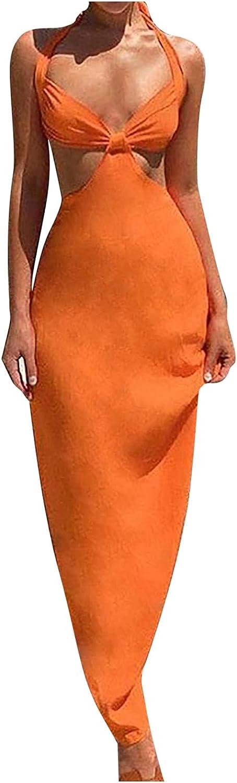 ManxiVoo Women Halter Maxi Dresses Sexy Party Cut Out Backless High Split Slim Club Dress Long Dress