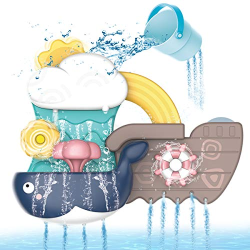 REMOKING Bath Toys for Toddler,Bath Toys for 1 2 3 4 5 Years Old Boys Girls Kids,Whale Baby Bath Toys with Suction Cups,Fun Water Toys Baby Bath Shower Toys 6 Months Plus, Gifts for Kids&Girls&Boys