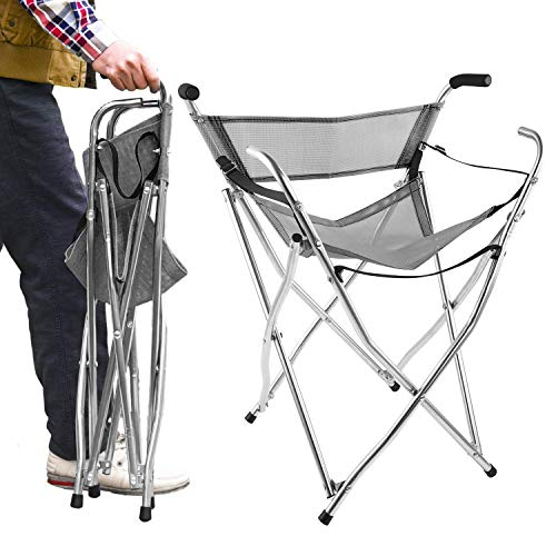 Freshore Walking Stick Chair Seat - Folding Camping Cane Portable Stool Heavy Duty Aids for Seniors (L Size Grey)