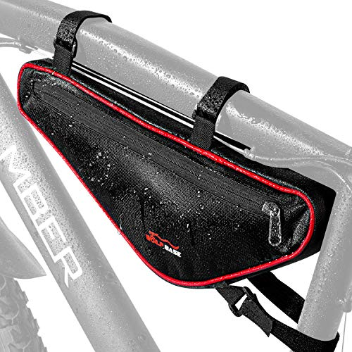 Koopan Fahrradtasche Rahmen Dreieck, Rahmentasche mit Flexible Klettbefestigung, Radtasche perfekt für Werkzeug, Triangle Bag Schwarz