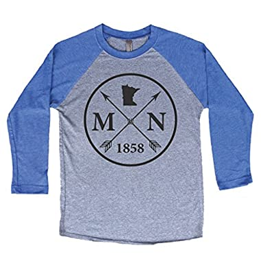 Homeland Tees Unisex Minnesota Arrow 3/4 Length Baseball Style Raglan T-Shirt XX-Large Blue/Black