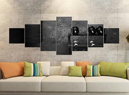 Canvas foto's 7-delig 280x100cm zwart fitness halters bokszak retro canvas foto delen delen kunstdruk wandafbeelding meerdelig 9YB1879 ca. 280cmx100cm