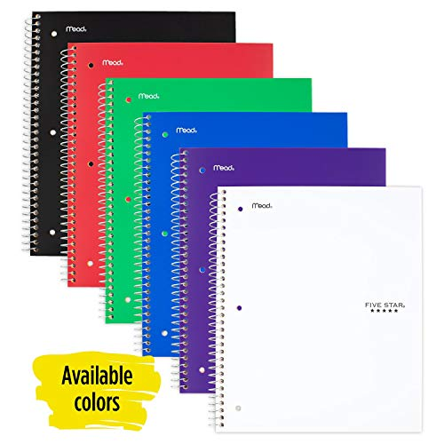 Five Star Spiral Notebook, 3 Subject, Wide Ruled Paper, 150 Sheets, 10-1/2' x 8', Color...