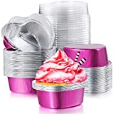 80 Sets Mini Aluminum Foil Cake Pan with Clear Lids Heart Shaped Foil Cupcake Cups Disposable Aluminum Dessert Baking Cups Pans for Valentine Wedding Mother's Day Parties 55 ml/ 1.86 oz (Rose Red)