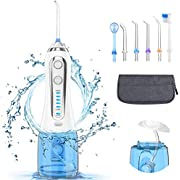 Water Flosser for Teeth, Professional Dental Oral Irrigator with 300ML Water Tank, 5 Mode and 6 Jet Tips, Cordless Portable and Rechargeable Waterproof Water Flossers For Home and Travel