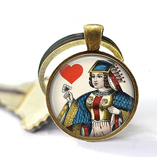 Schlüsselanhänger mit der Königin der Herzen – Vintage-Spielkarten-Schmuck – Queen of Hearts Schlüsselanhänger – Geschenk für Kartenspieler – Geschenk für Gambler – Gambling