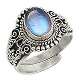 Anillo de plata de ley con piedras preciosas y piedra lunar, ajustable, estilo...