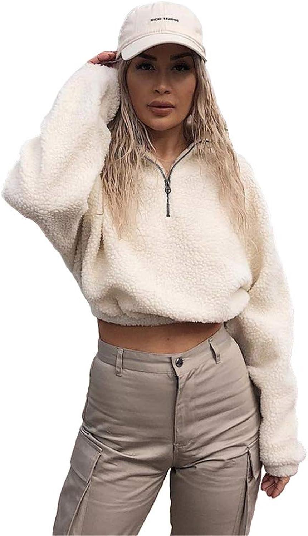 Malianna Women Zipper Faux Lambswool Sweatshirts Turtleneck Ladies Hoodies