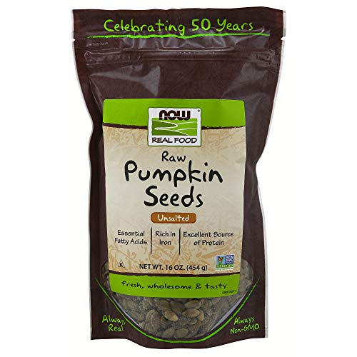 NOW Natural Foods, Pumpkin Seeds, Raw and Unsalted, Essential Fatty Acids, Rich in Iron, Excellent Source of Protein, Certified Non-GMO, 1-Pound (Packaging May Vary)