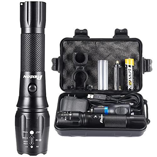 PHIXTON Rechargeable Flashlights High Lumens, High Power Tactical LED 18650 Flash Lights, Super Bright Gear Emergency Torch, for Police Camping Hiking, with 5000mAh Battery Charger USB Cable Gift Box