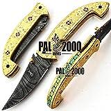 PAL 2000 Cuchillo Plegable, Navaja de Bolsillo, Cuchillo Hecho a Mano Personalizado, Cuchillo de Acero de Hoja de Damasco, con Funda de Cuero, Cuchillo Hecho a Mano, Cuchillo Forjado a Mano 9595