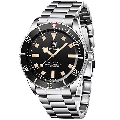 Benyar Fashion Automatic Watch Reloj de Negocios de Acero Inoxidable de los Hombres Relojes mecánicos a Prueba de Agua de los Hombres