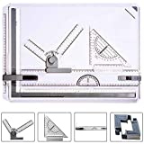 ONDY Metric Drafting Table Portable A3 Drawing Board Drafting Tools Set, Architectural Technical Graphic Sketch Set with Set Square, Clamps, Protractor, Anti Slip Support Legs, Sliding Ruler