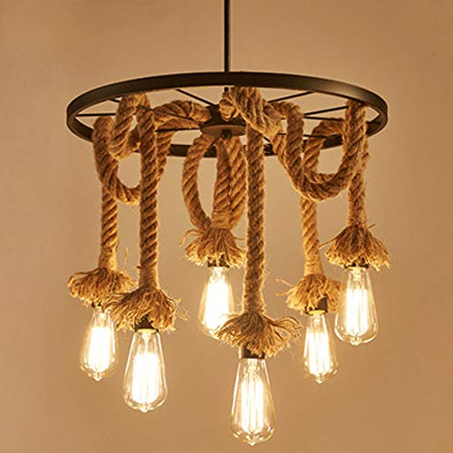 E27 Vintage Ceiling Lighting Hemp Rope Lamp Hanging Lamp Pendant Light Rope Lamp with 3-6 Lampholders Chandeliers Adjustable Length for Restaurant Bedroom Bar Foundation Warehouse Farm (6-Lumières)