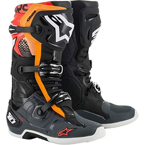 Alpinestars Tech 10 Men's Off-Road Motorcycle Boot - Black/Gray/Orange/Red Fluorescent / 10