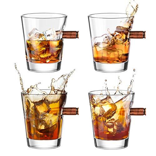Kollea 4er Schnapsgläser Shotgläser Set, Whiskey Gläser mit Realem Geschoß Cal.308, Mundgeblasener Shot Gläser, Kristall Whiskygläser-Set Geschenk für Tequila Wodka für Männer, Papa, Freunde - 6 cl