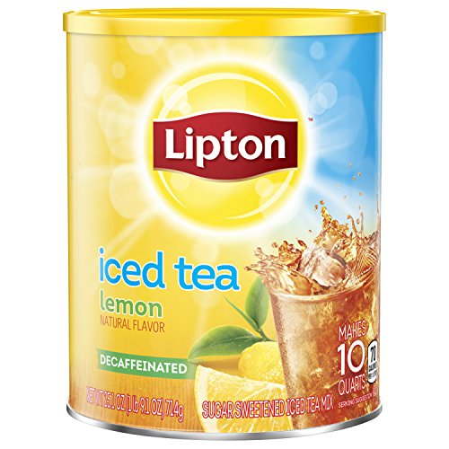 Lipton Iced Tea For a Cool Beverage Diet Decaffeinated Lemon Caffeine-Free, Sugar-Free Black Tea Mix 10 qt, pack of 4