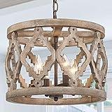 "RUZINIU Farmhouse Chandelier for Dining Room, Wood Pendant Lighting for Kitchen Island, Foyer, 14"" Dia"