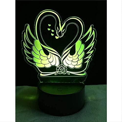 Geizland 3D niños luz de la noche americana LED luz niños táctil lámpara de mesa niña bebé dormitorio sueño fiesta de cumpleaños regalo vacaciones n131