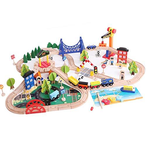 osmanthus 108 piezas de ferrocarril de madera de juguete ferrocarril de madera y grúa exclusiva, gran regalo para pequeños creadores de tren de madera