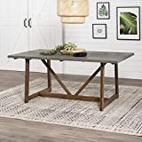 Walker Edison 4 Person Modern Farmhouse Wood Small Dining Table Dining Room Kitchen Table Set Dining Chairs, 72 Inch, Grey and Brown