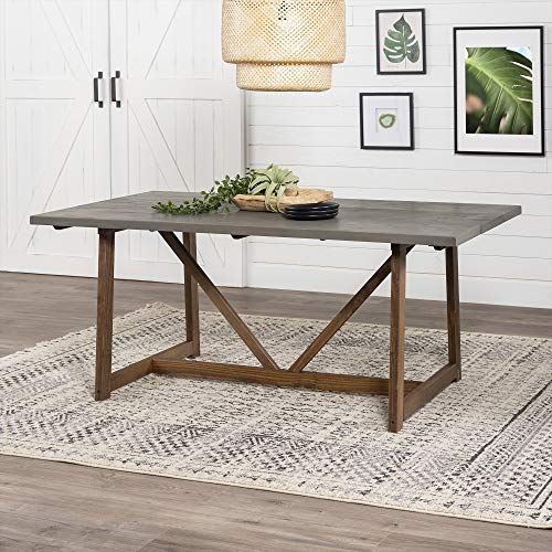 Walker Edison 4 Person Modern Farmhouse Wood Small Room Kitchen Table Set Dining Chairs, 72 Inch,...
