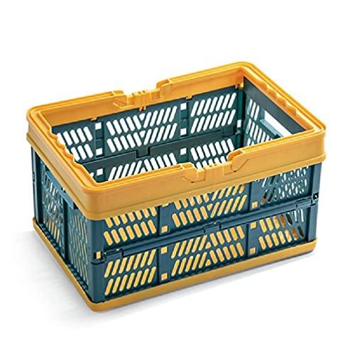 DONGMIAN WenPingUK - Cajas de almacenamiento plegables con asa rectangular y hueco, apilables, multifuncionales, para ahorrar espacio, cestas de compras de plástico
