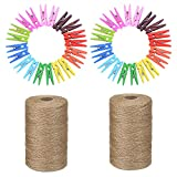 Cuerda de yute 2 rollos/300m/2mm, 40 piezas Madera Pinzas para la ropa, Cuerda de cáñamo para la decoración de la pared de fotos, fiesta de bodas,flejes, embalaje de regalo, Halloween y Navidad