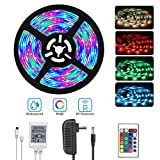 DAYBETTER Led Strip Lights 16.4Ft/5M SMD 3528 RGB 300 LEDs Color Changing Kit Waterproof, LED Ribbon for Home/Kitchen Light Strips 12V Power Adapter Included for Bedroom, Party