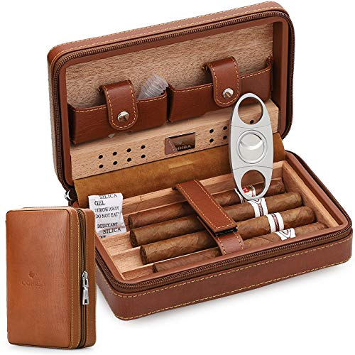 Time C club 4-Finger Portable Travel Leather Cigar Case, Cigar Cutter,Cigar Humidor with Cigar Cutter and Humidifier, Groomsmen Gift, Birthday Gift, Fathers Day Gift, Anniversary Gift
