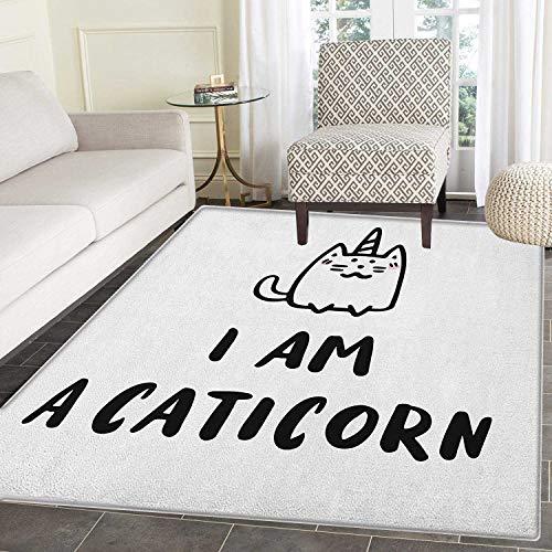 Yaoni Einhorn Katze Anti-Rutsch-Bereich Teppich Humorvolles Zitat Ich Bin EIN Caticorn mit handgezeichneter fiktionaler Figur mit Horn-Türmatte 5'x6 'Schwarzweiß