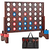 SpeedArmis Giant Wooden 4 in A Row Game, Line Up 4 Travel Board Games for Kids Adults Family - Wooden Indoor&Outdoor Game Set with 42 Pcs Chips & Durable Carrying Bag