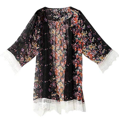 HX fashion Vest Dames Elegant Chiffon Kimono Comfortabele Maten Mode Vintage Vrije Tijd Chic Tuniek Lange Mouw Bloemenprint Splice Kant Grote Maten Jas Bovenkleding