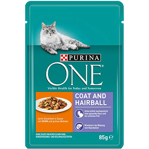 PURINA ONE COAT & HAIRBALL Katzenfutter nass in Sauce, mit Huhn, 24er Pack (24 x 85g)