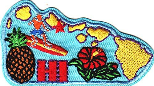 HAWAII All stores are Popular product sold STATE SHAPE Iron Patch On Tropical