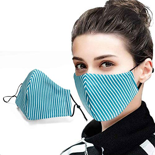 Bompi & Tortilli Premium Stripes Face Mask build in Filter and Soft Wide Padded Nose Clip for glasses wearers (Turquoise Stripe)