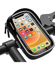 LEMEGO Bolsa Bicicleta Manillar para Ciclista Ciclismo, Bolso de Bici Impermeables, Soporte Bolsa Táctil para Móvil Teléfono de Hasta 6,5 Pulgadas (Gris)