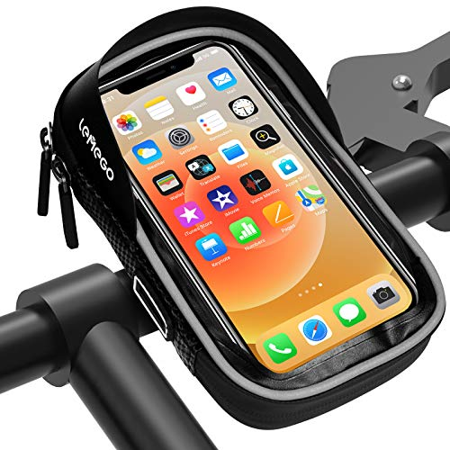 LEMEGO Bolsa Bicicleta Manillar para Ciclista Ciclismo, Bolso de Bici Impermeables Soporte Móvil Teléfono para Teléfonos Móviles Inferior de 6.5 Inches (Gris)