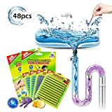48PCS Drain Cleaner Sticks Sink Deodorizer Clog Remover Organic Enzyme Drain Cleaner Septic Tank Safe Prevent Expensive Sewage Backups for Kitchen Bathroom Toilet Showers