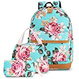 Pawsky Pawsky Canvas School backpack Set Lightweight Teen Girls Women Kids School Bags College Bookbag Fits 14 Inch Laptop Bag, Floral Water Blue, 17x12x6.5 Inches