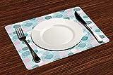 Manteles Individuales, Azul marino y rubor, siluetas con motivos retro estilo rosa, fanta,Mantel Individual Antideslizante Lavable Resistente Al Calor para Hoteles Restaurante Catering (Paquete de 4)