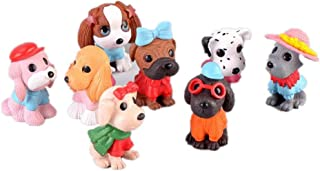 Ardest Assorted Cartoon Dog Figures Cake Topper Toy Playset Puppy Figurine Garden Minatures Dollhouse Christmas Birthday Party Gift for Kids Toddler (Pack of 8)