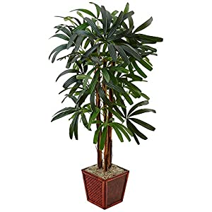 Nearly Natural 5' Raphis Palm Artificial Tree in Bamboo Planter, Green