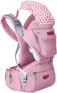 SUNVENO Baby HIPSEAT Ergonomic Baby Carrier 3in1 Baby Hip seat Waist Stool for Outdoor Travel(Pink)