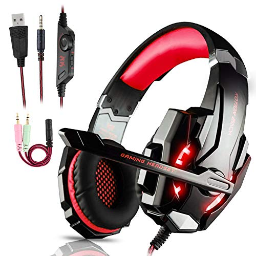 Igrome Auriculares Gaming PS4,Cascos Gaming de Mac Estéreo con Micrófono Juego Gaming Headset con 3.5mm Jack Luz LED Bajo Ruido Compatible con PC/Xbox One/Nintendo Switch/Móvil (Rojo)
