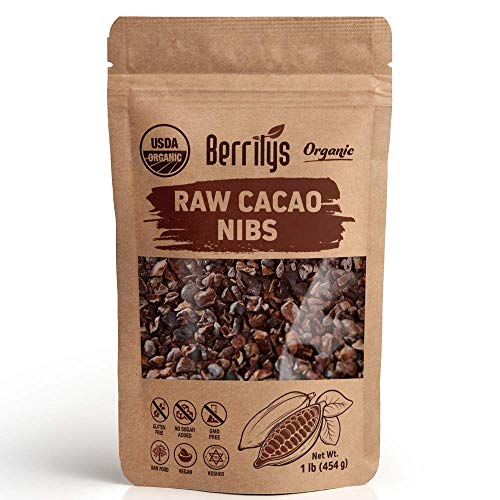 Berrilys Organic Cacao Nibs,Raw Cocoa, USDA Organic, Non-GMO, Vegan, Gluten free, 1 lb